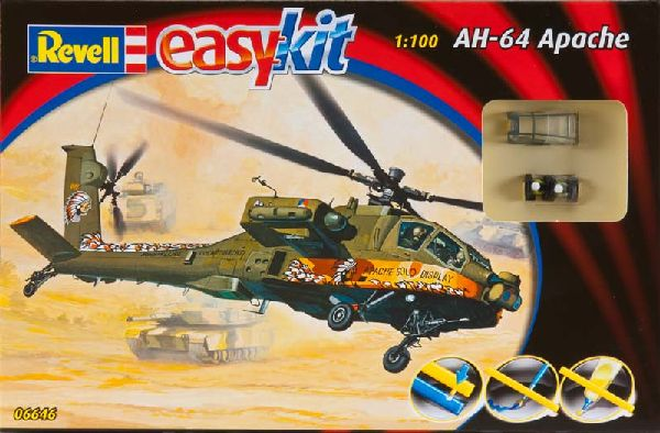 Revell 06646 1:100 Snap AH-64 Apache Helicopter