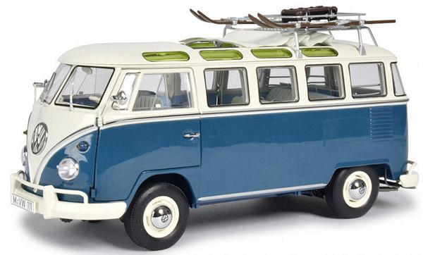 Schuco 450037600 VW T1b Samba Wintersport Blue White