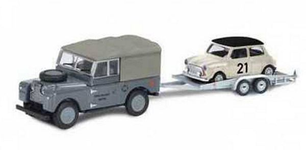 Schuco 452632700 Land Rover I with Trailer and Mini