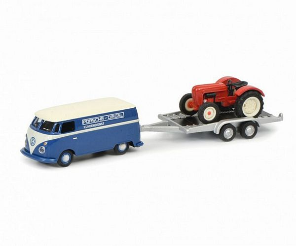 Schuco 452632800 VW T1C Box Van with Trailer and Porsche Junior