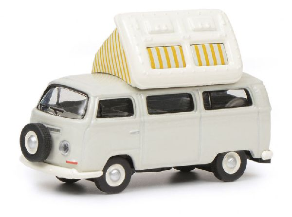 Schuco 452640400 VW T2A Camping Bus with Open Roof Grey White