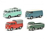 Schuco 450368900 Set VW T1b VW T1b Samba Box Van Twin Cabin and Pick-up