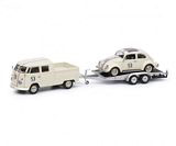 Schuco 450374200 VW T1b Twin Cabin with Trailer and Ovali Beetle 53-racing Beige