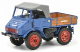 Schuco 450900300 Mercedes-Benz Unimog U401 with Wooden Bed Blue