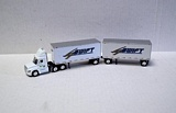 Trucks N Stuff SP111 Cascadia Day Cab with 28 Double Van Trailers