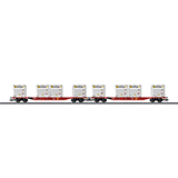 Trix 24110 Container Flat Car Set with WoodTainer XS Containers Sgns 691