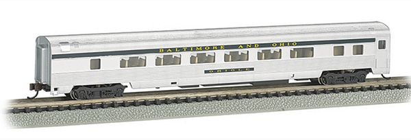 Bachmann 14753 BO Silver with Blue Stripe 85 Ft Coach with Lighted Interior