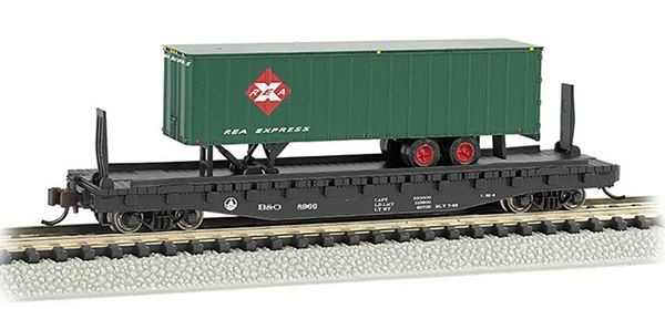 Bachmann 16752 BO 52ft Flat Car with Railway Express Agency 35ft Trailer
