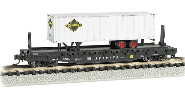 Bachmann 16754 Reading 52ft Flat Car with Reading 35ft Trailer