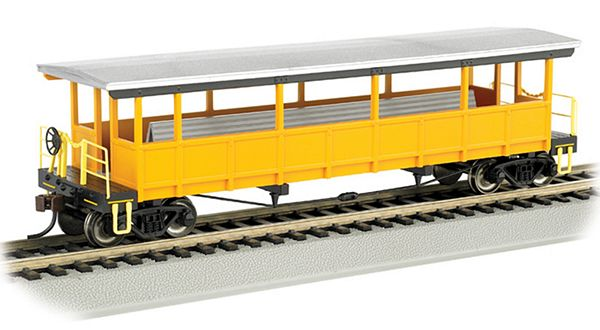 Bachmann 17448 Painted Unlettered-silver-Yellow Open-sided Excursion Car