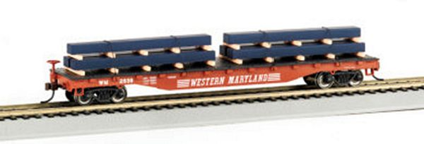 Bachmann 18929 Flatcar Western Maryland with Steel Load HO