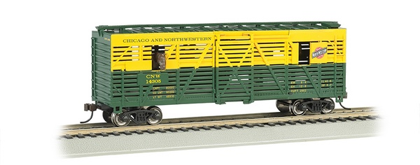Bachmann 19703 CNW 40ft Animated Stock Car with Horses
