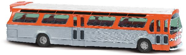 Busch 44512 American Bus Fishbowl with Signage Equipment Orange