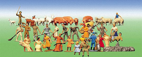 Faller 153004 Farm People and Animals 36 Pieces
