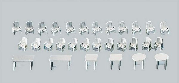 Faller 272441 24 garden chairs and 6 tables