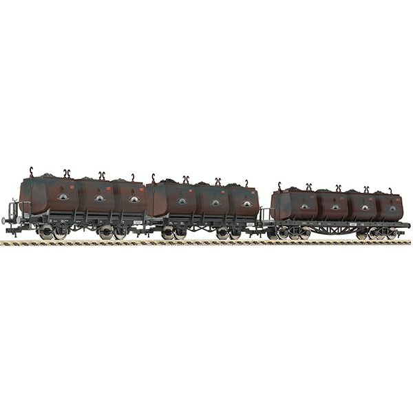 Fleischmann 526505 3 Pc Set Dipping Bucket Wagons for Transportation of Coal Niederschlesisches Steinkohlen-syndikat