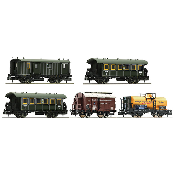 Fleischmann 809003 5 piece wagon set Goods train with passenger transportation K Bay Sts B