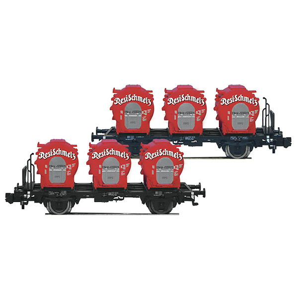 Fleischmann 823302 2 piece set container carrier wagons Resi-Schmelz DB
