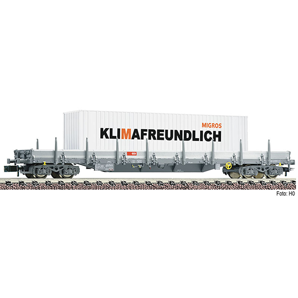 Fleischmann 828823 Stanchion wagon type Res with MIGROS containers SBB