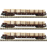 Fleischmann 826810 3 piece set Holzzug with stanchion wagons type Rs OBB