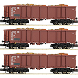 Fleischmann 828345 3-piece set goods wagons type Eaos that carry scrap metal DB