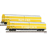 Fleischmann 838312 2 piece set high capacity sliding wall wagons Post SBB