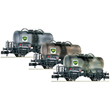 Fleischmann 841201 3 piece set tank wagons BP hired out to the DB