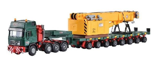 Kibri 13600 MAN SK with SCHEUERLE Platform Car and Rail Crane Superstructure