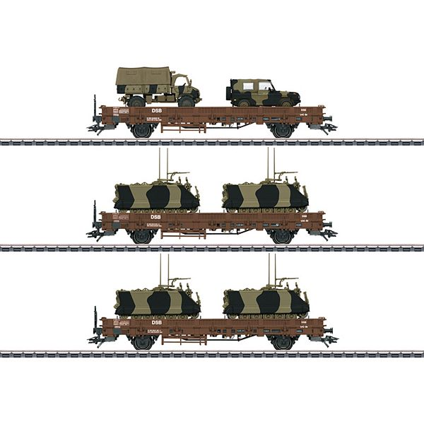 Marklin 46934 Military Transport Low Side Car Set