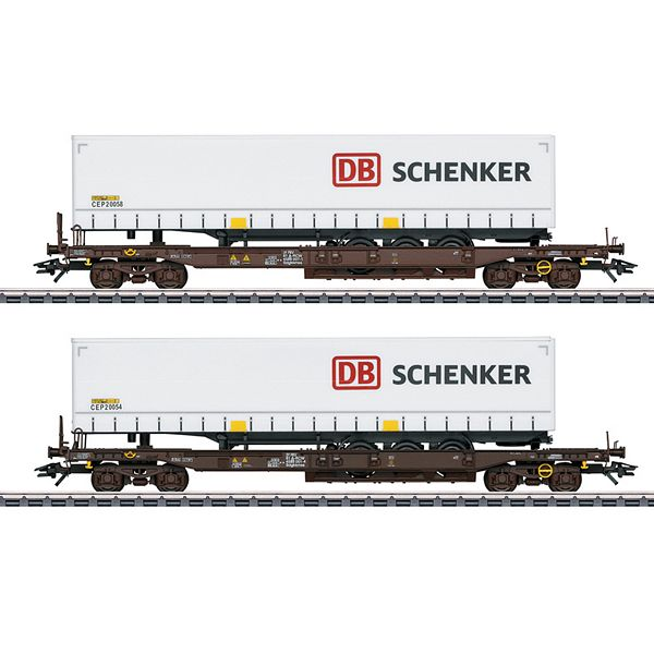 Marklin 47110 DB Schenker Deep Well Flat Car Set