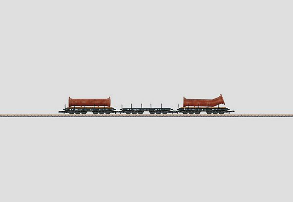 Marklin 82349 Heavy-Duty Flat Car Set with a Load of Flanged Pipe