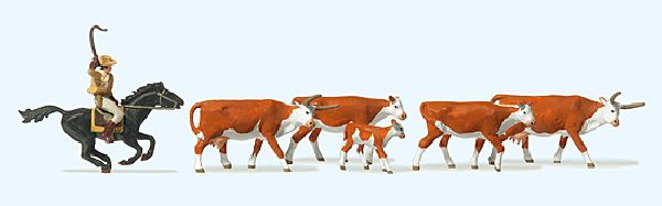Preiser 10159 Longhorn Cattle Cowboy on Horseback