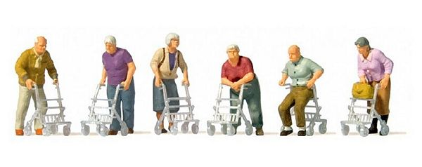 Preiser 10718 Elderly People with Rolling Walkers