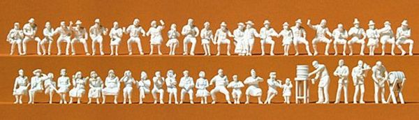 Preiser 16356 In the Beer Graden 46 Unpainted Figures