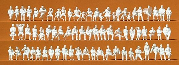 Preiser 16358 Seated Persons 72 Unpainted Figures