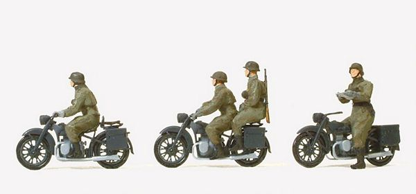 Preiser 16598 Motorcycle crew mountedMotorcycle BMW R 12