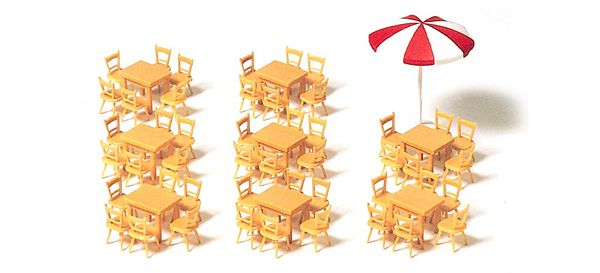 Preiser 17201 Tables Chairs Sunshade