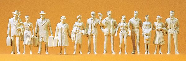 Preiser 63000 Passengers and passers-by 12 unpainted miniature figures Kit
