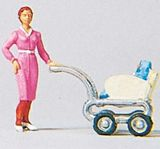 Preiser 28037 Woman with baby Carriage