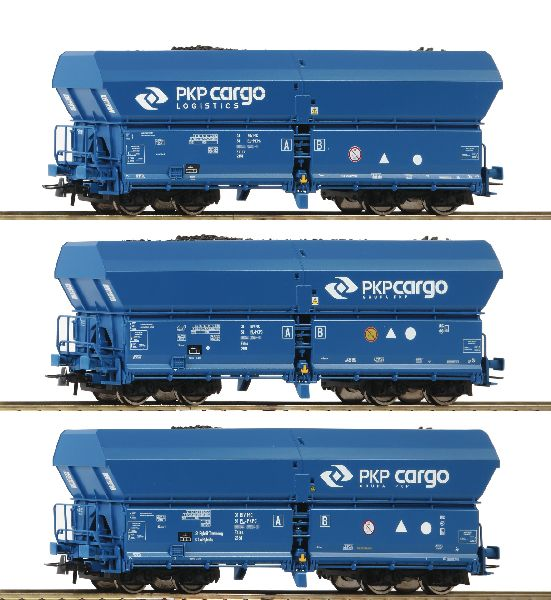 Roco 76046 3 Piece Set Self Unloading Hopper Wagons PKP Cargo
