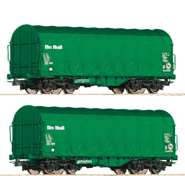 Roco 76049 2 Piece Set Slide Tarpaulin Wagons on Rail