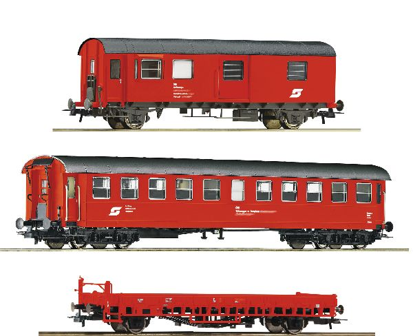 Roco 76050 3 Piece Set Construction-maintenance Train Wagons DB