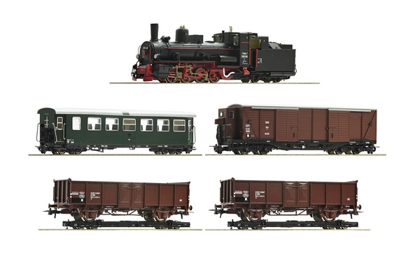 Roco 31032 5 piece train set Steam locomotive 399 06 with mixed passenger train OBB