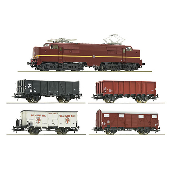 Roco 61460 5 Piece Set Electric locomotive 1224 With Freight Train NS