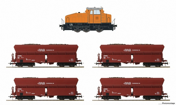 Roco 61466 5 piece train set Diesel locomotive DHG 500 with self unloading hopper wagons RAG
