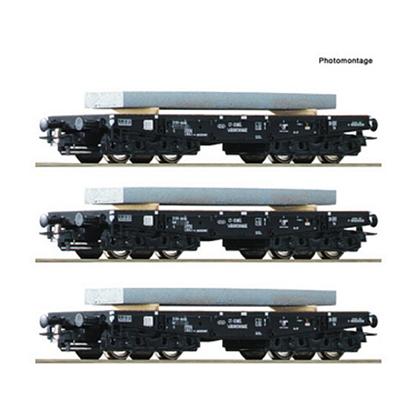 Roco 67194 3 piece set Heavy duty flat wagons NS