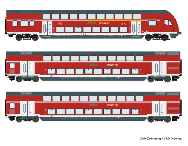 Roco 74147 3 piece set Double deck coaches DB AG