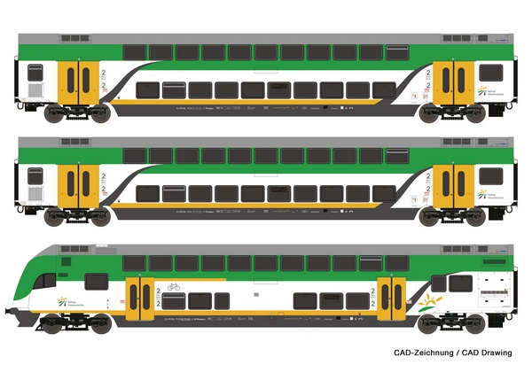 Roco 74160 3 piece set Double deck coaches Koleje Mazowieckie
