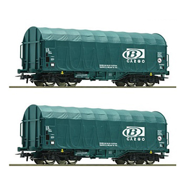 Roco 76071 2 piece set Slide tarpaulin wagons SNCB