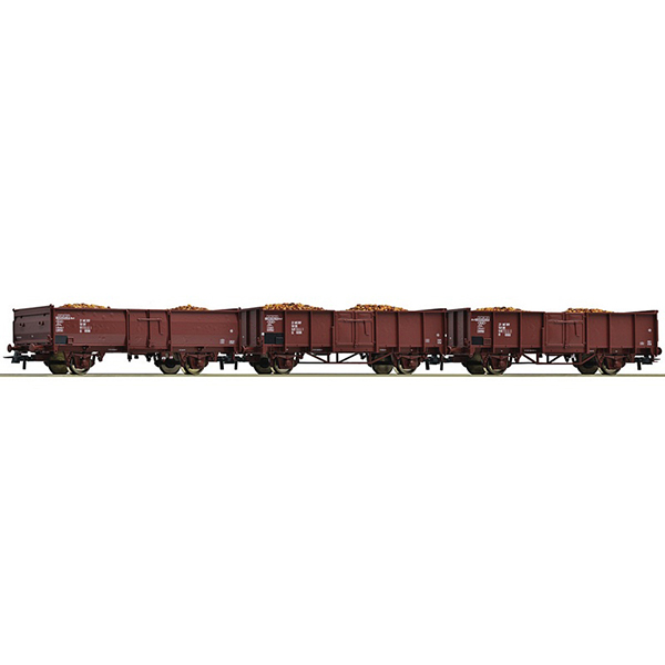 Roco 76081 3 piece set Open goods wagons DR